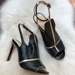 VC Signature Black Gold Leather Heels
